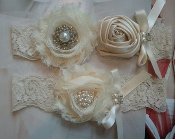 Wedding Garter - Bridal Garter - Ivory Garter Set with Pearl & Rhinestone - Style G2042