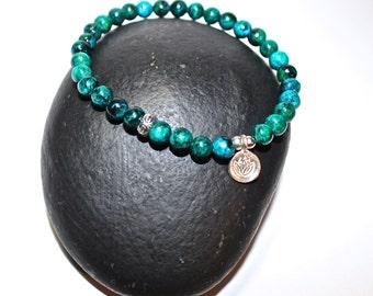 Lotus Bracelet, Hindu Bracelet, Yoga Bracelet, Ohm Bracelet, Blue and Green Bracelet