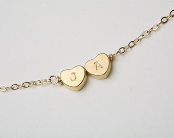 Reversible Heart initial Bracelet,gold bracelet,Monogram adjustable,Bridesmaid gifts,Birthday,Friendship,Mother Jewelry