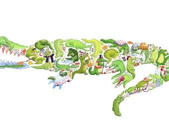C is for Crocodile - Children's Art Print, Signed