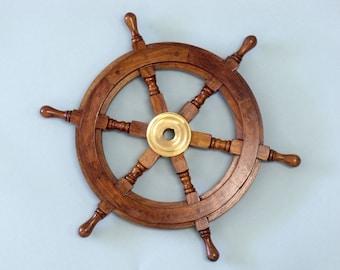 "Wood and Brass Ship Wheel 15"" Ship's Wheels - Nautical Home Decor - Beach House Decoration"