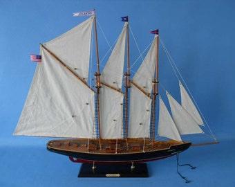 """Atlantic Model Sailboats 35"""" Sailing Boat Models / Wooden Racing Sailboat Yachts / Wood Sail Boats"""