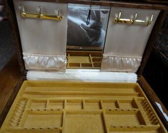 mele vintage jewelry storage box jewelry box brown satin inside built in mirror jewelry display case