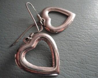 Vintage Sterling Silver Open Heart Dangle Earrings