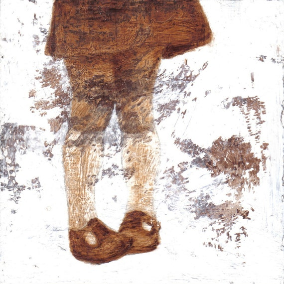 Small Fine Art Print - Girl with Shoes, Textured painting, sepia, brown, Home Decor