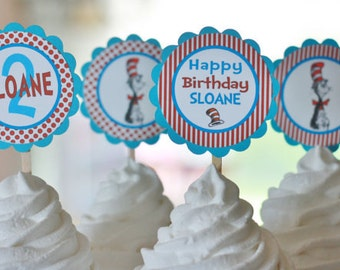 12 Cupcake Toppers - Happy Birthday Dr. Suess Cat in the Hat Inspired Collection  - Matching Party Packs Available