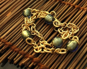 Irredescent Blue/Gold Tinted Beads Wrap Chain Bracelet