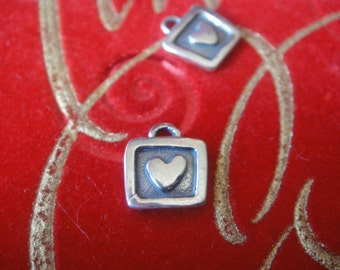 925 sterling silver oxidized heart charm or pendant, 1 pc.