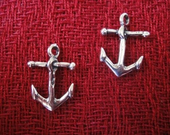 925 Sterling Silver oxidized Anchor Charm, Anchor charm 1 pc.