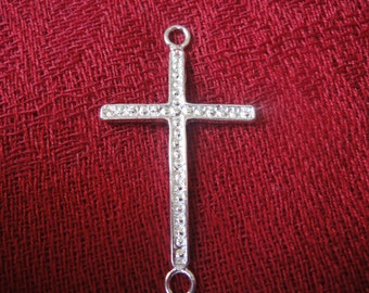 925 sterling silver sideways cross connector charm