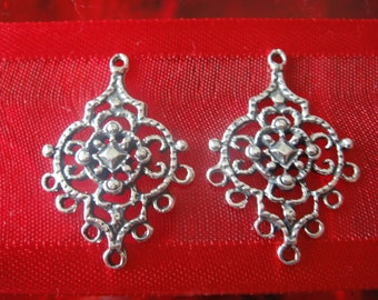 2 pc.925 sterling silver Chandelier Earring Components - 7 holes, large chandelier frame findings, silver earrings, large earring finding,
