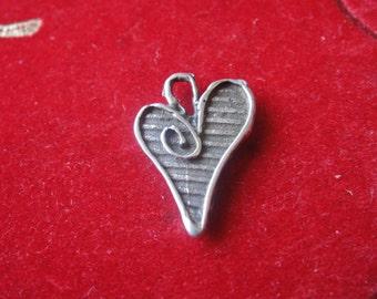 925 sterling silver oxidized heart , silver heart charm, silver heart, heart, heart charm,