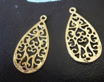 18k gold over 925 sterling silver earring finding, vermeil earring finding, earring component, filigree earring finding. 1 pc. Shiny gold