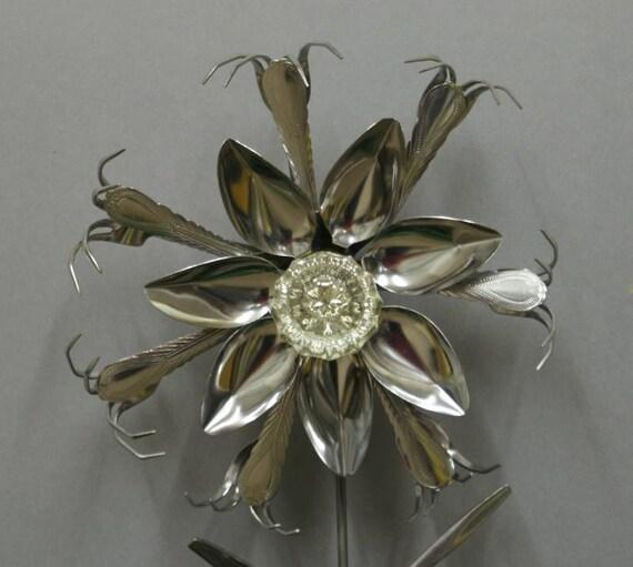 Glass yard art flowers - Art Glass Door Knob Stainless Silverware Flower Garden Art On Etsy