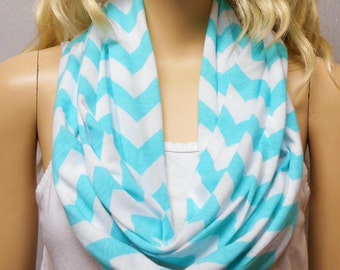 Tiffany  Blue & White Chevron Print  Infinity Scarf   Jersey Knit