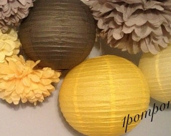 YELLOW SUNSHINE / 3 Tissue Paper Poms/3 Paper Lanterns / Baby Shower, Birthday, Wedding, Bridal Shower, Nursery Decor