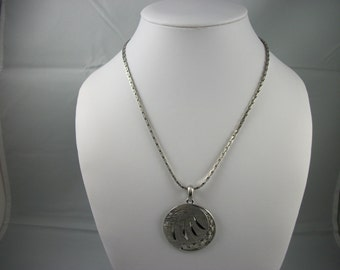 SALE     Vintage Siilvertone Necklace with Round Medallion.