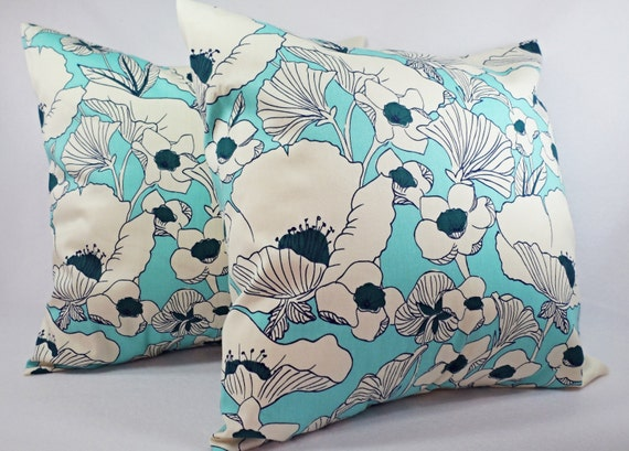 Decorative Pillows For Navy Couch : Items similar to Two Navy and Teal Couch Pillow Covers - Decorative Throw Pillow Cover -Floral ...