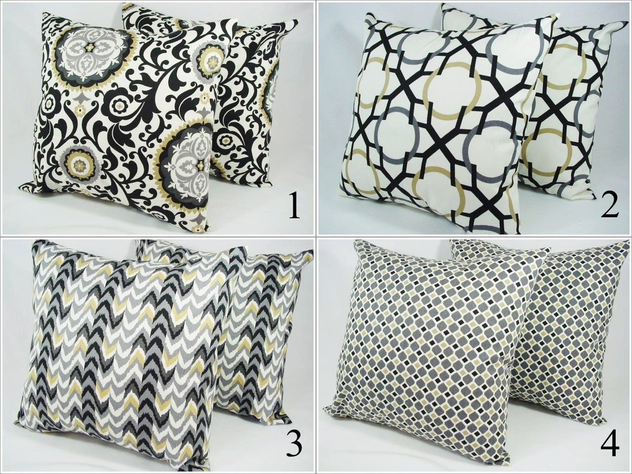 Decorative Pillows Black And Grey : Items similar to Choose Your Own Throw Pillow Covers Grey Black Brown and White - 18 x 18 inches ...