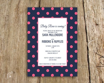 Preppy Polka dot baby shower invitation - customize with your colors - shown in navy and pink
