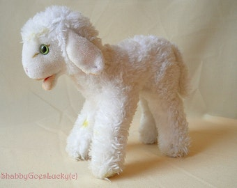 Steiff Cosy Lamby, vintage midi size lamb toy with open mouth & Steiff button old German stuffed animal, collectible plush toy, Easter lamb