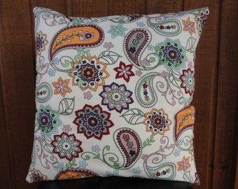 Handmade paisley and linen cushion pillow cover