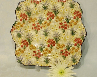 Vintage Royal Winton chintz Marguerite  Cake Plate, 1930s. CP013
