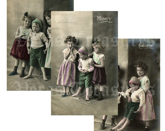 Comical Children Photo vintage style Postcards Digital Images for card making or Crafts