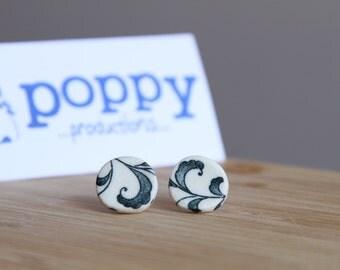 White Porcelain / Ceramic Stud Earrings - Blue Floral Leaves Design
