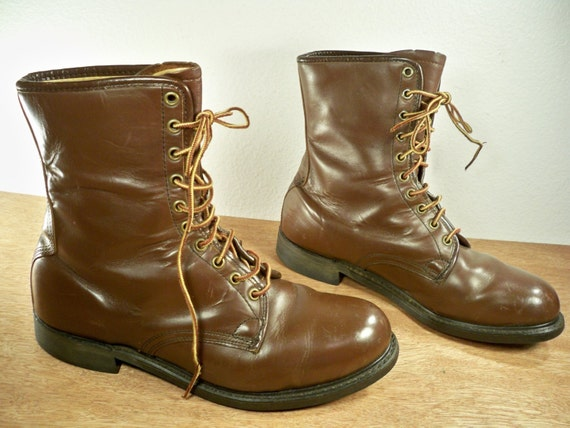 vintage knapp made in usa work steel toe brown leather by