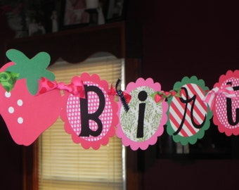 Strawberry Birthday Banner - Strawberry Shortcake Birthday Banner