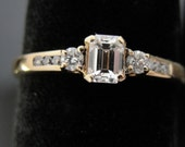 14k Gold and Emerald Cut Diamond Engagement Ring RGDI425D