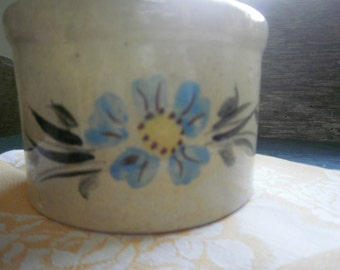 Small Glazed Pottery Crock with Painted Blue Flower