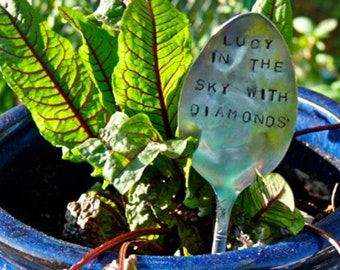 Lucy In the Sky With Diamonds-Vintage Silverware Garden Marker
