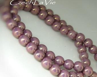 Round Druk Beads 6MM Purple-Metalic Light   (032)