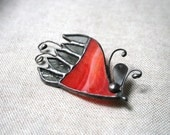 Red gray unique brooch, Flower pin, One of a Kind