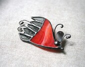 Red gray unique brooch - stained glass and cooper OOAK - ArtKvarta