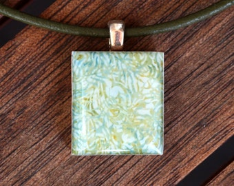 Abstract Resin Scrabble Tile Pendant Necklace