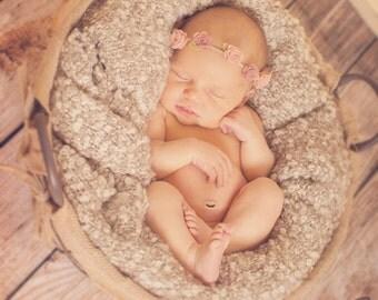 Felt flower crown - newborn through adult - blush and pink