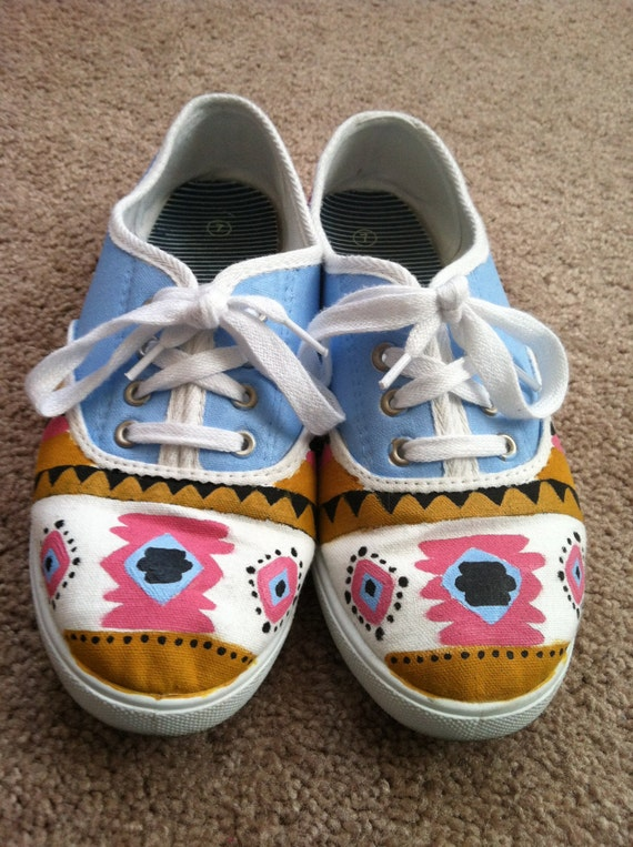 items similar to aztec tribal print canvas shoes on etsy