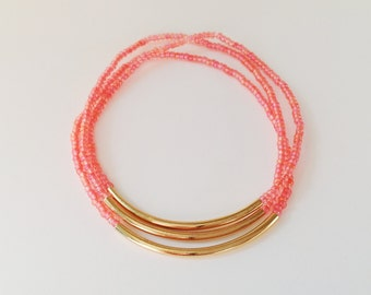 Coral and gold bracelet, seed bead bracelet, minimalist bracelet,stretchy bracelet, salmon bracelet, gold, pink bracelet, noodle bracelet