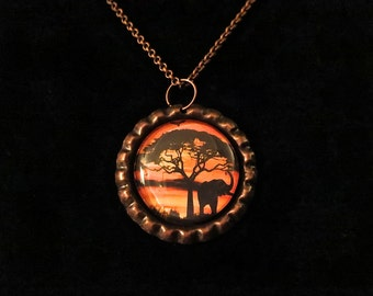 Elephant Silhouette in the Sunset Small Round Pendant Necklace with Chain