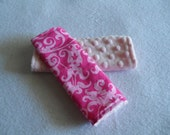 Hot pink damask and pink minky car seat strap covers