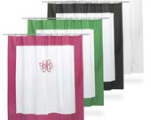 Monogrammed Shower Curtain White Black Hot Pink or Kelly Green Trim