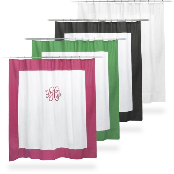 monogrammed shower curtain white black hot pink or kelly green