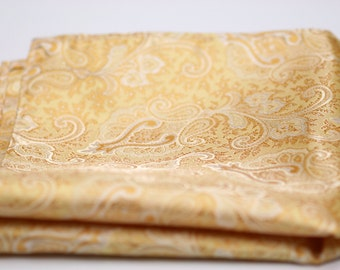 POCKET SQUARES in Golden Yellow Paisleys