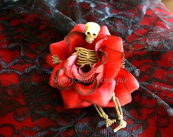 Day of the Dead, Sugar Skull Rose, Halloween Hair Clip Accessory, Dia de los Muertos, Skeleton Costume