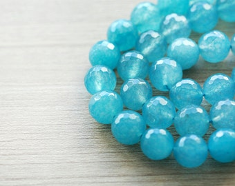 20 pcs of Faceted Cyan Dye Gemstone Beads - 10 mm