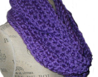 Purple Infinity Scarf Cowl Long Knit Hand  Made in USA Chunky Crochet Super Soft Bulky Yarn Gift Idea