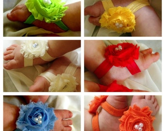 MANY COLORS)) Beautiful Baby Toe Blooms/Sandals- Chiffon Flower with a pearl center on a stretch elastic Newborn, Infant, Baby, Girl